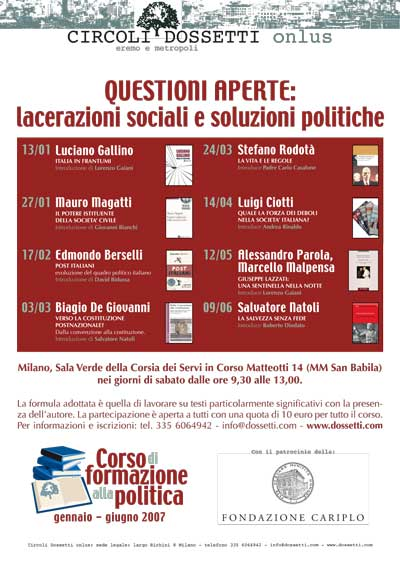 Questioni aperte: lacerazioni sociali e soluzioni politiche