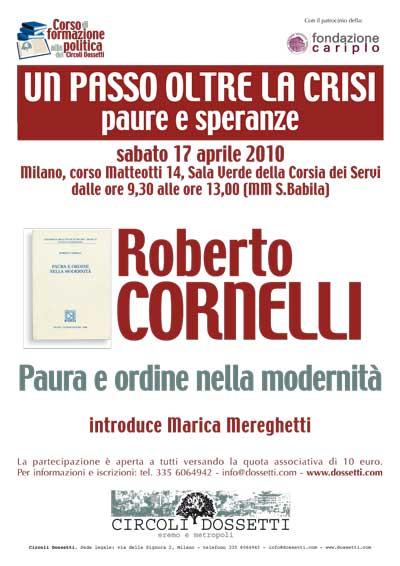 Roberto Cornelli. Paura e ordine nella modernità.