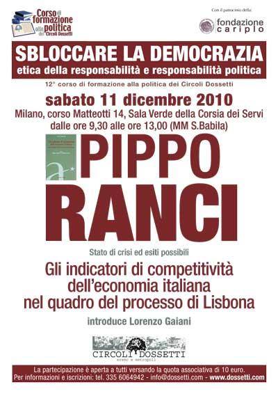 Pippo Ranci. Gli indicatori di competitività dell'economia italiana nel quadro del processo di Lisbona.