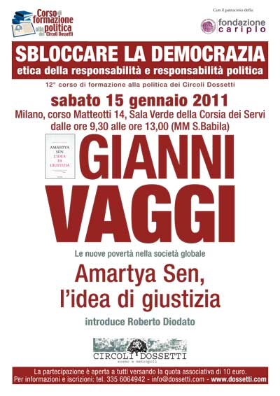 Gianni Vaggi presenta Amartya Sen, l'idea di giustizia