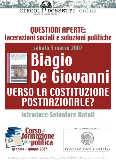Biagio De Giovanni. Verso la costituzione postnazionale?