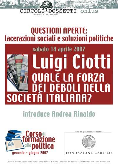 Luigi Ciotti. Quale la forza dei deboli nella società italiana?