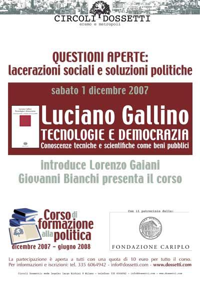 Luciano Gallino. Tecnologie e democrazia. Conoscenze tecniche e scientifiche come beni pubblici.