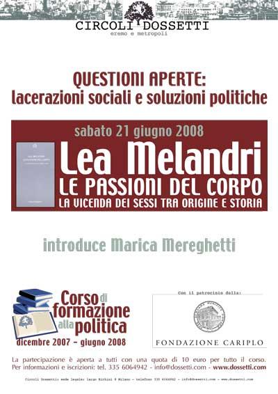 Lea Melandri. Le passioni del corpo. La vicenda dei sessi tra origine e storia.