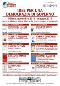 Per una democrazia di governo - locandina del Corso di formazione alla politica 2014-2015 dei circoli Dossetti