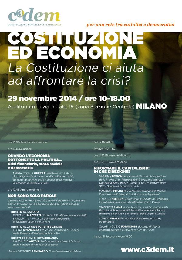 Costituzione ed economia, locandina convegno C3Dem a Milano