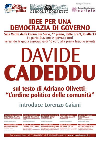"""Davide Cadeddu sul testo di Adriano Olivetti """"L'ordine politico delle comunità"""""""