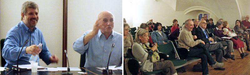 Padre Giacomo Costa con Giovanni Bianchi. Il pubblico della Sala Verde. (foto Enrico Leoni)