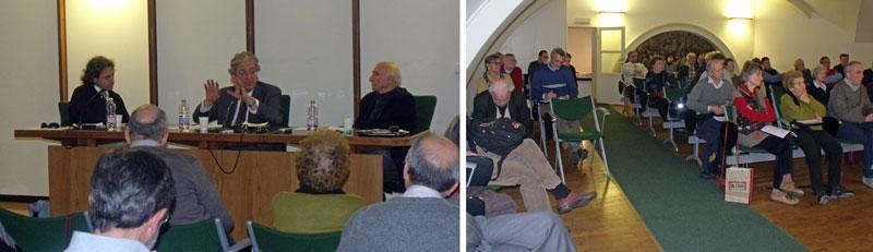 Luca Caputo, Enrico Morando e Giovanni Bianchi. Il pubblico della Sala Verde. (Foto Enrico Leoni)