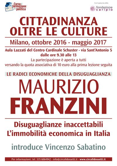 Locandina lezione di Maurizio Franzini: disuguaglianze inaccettabili. L'immobilità economica in Italia.