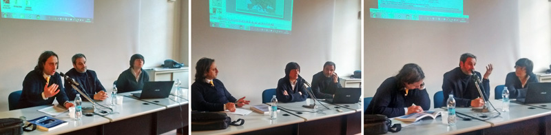 Luca Caputo, Cristina Carpinelli e Massimo Congiu nella sala Lazzati del Centro Cardinale Schuster di Milano