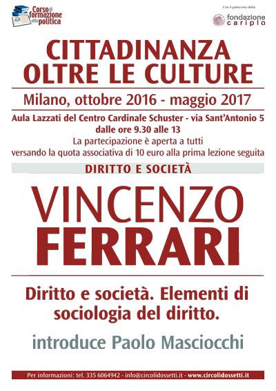 Locandina Vincenzo Ferrari, diritto e società, elementi di sociologia del diritto.