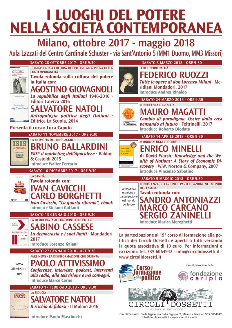 I luoghi del potere nella società contemporanea - Corso di formazione alla apolitica del Circolo Dossetti di Milano