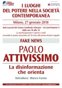 Locandina Paolo Attivissimo - Fake news, la disinformazione che orienta