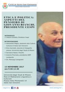 """Locandina """"Etica e politica: aspetti del pensiero di Giovanni Bianchi, presidente del CESPI"""""""