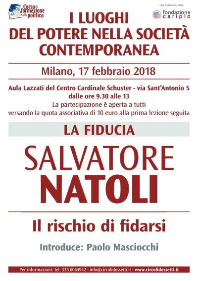 La fiducia. Salvatore Natoli. Locandina.