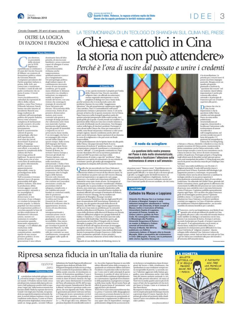 pagina Avvenire - Circolo Dossetti, 20 anni di sano confronto. 24 febbraio 2018.