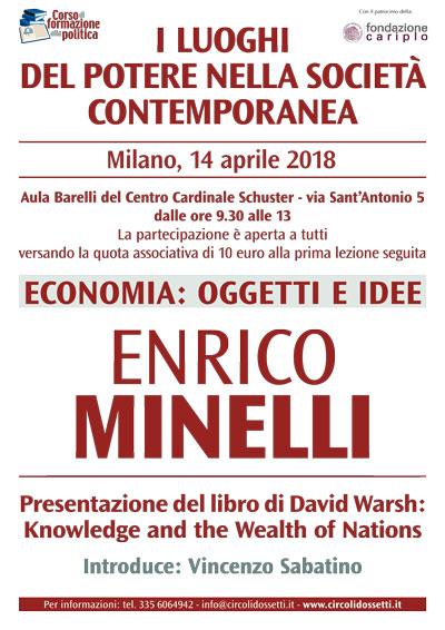 Locandina della lezione di Enrico Minelli. Economia: oggetti e idee.