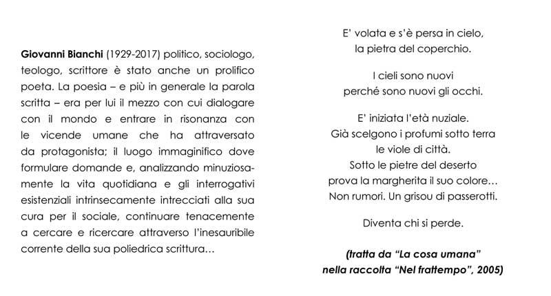 """Giovanni Bianchi, tratto da """"La cosa umana"""" dalla raccolta """"Nel frattempo"""""""