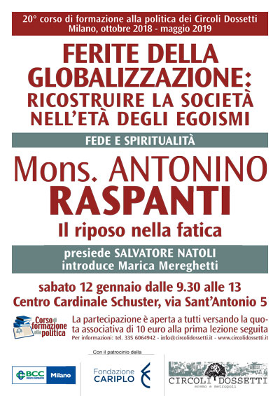 Locandina. Mons. Antonino Raspanti - Il riposo nella fatica