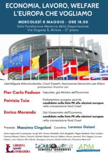 """Locandina """"Economia, lavoro, welfare. L'Europa che vogliamo."""""""