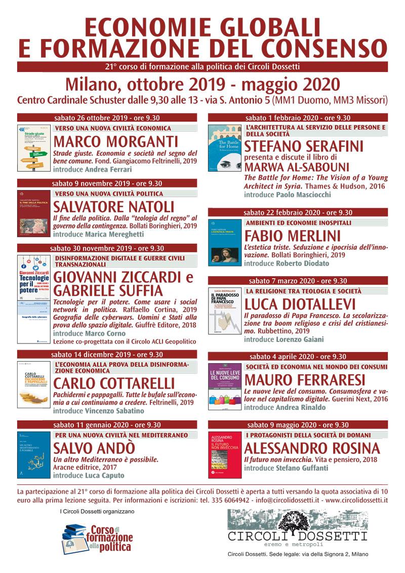 Economie globali e formazione del consenso. Corso di formazione alla politica dei Circoli Dossetti 2019-2020