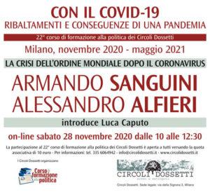 Locandina della lezione di Armando Sanguini e Alessandro Alfieri: la crisi dell'ordine mondiale dopo il coronavirus