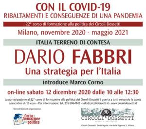Dario Fabbri: una strategia per l'Italia. Locandina della lezione online: Italia terreno di contesa con Dario Fabbri